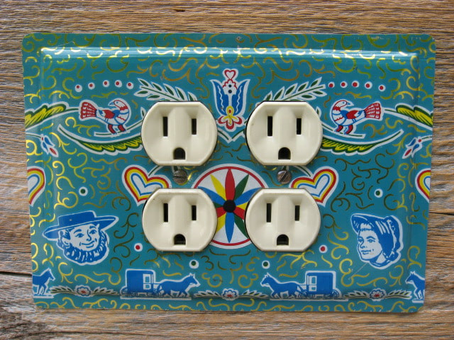 Unique Outlet Covers  Made From Vintage Tins