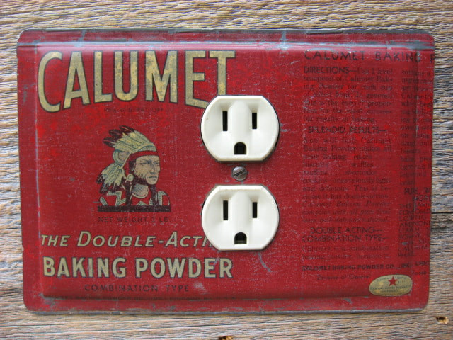 Unique Outlet Covers Made From Antique Baking Powder Tins