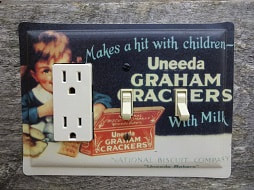 Unique Light Switch Covers Made From A Uneeda Crackers Tin