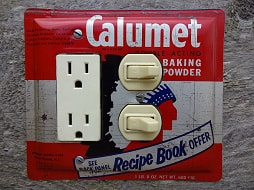 Vintage Calumet Baking Powder Tin Made Into A Unique Switch Plate