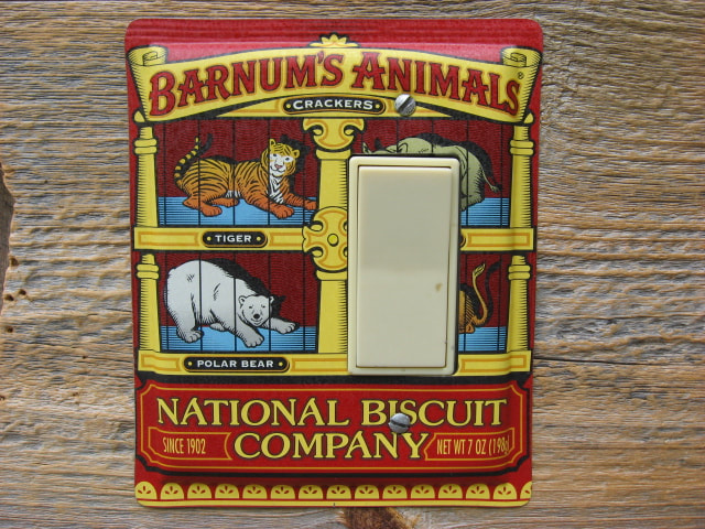 Custom Switch Plate Made From A Barnums Animal Crackers Tin