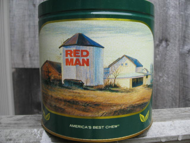 Red Man Tin With Silo