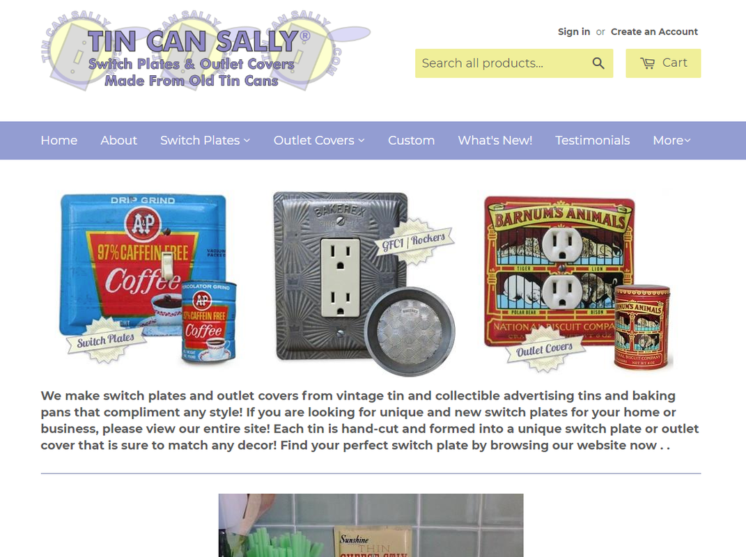 Visit Tin Can Sally Website For Switch Plates Made From Old Tins
